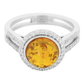 Amber Silver Ring (M de Luca)