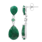 Emerald Colour Beryl Silver Earrings