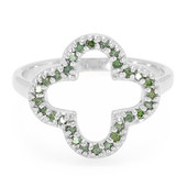Forest Green Diamond Silver Ring