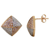 18K Pink Diamond Gold Earrings
