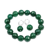 Green Agate Silver Set
