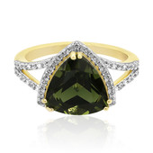 9K Moldavite Gold Ring