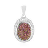 Pink Glitter Agate Silver Pendant
