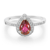 Cherry Topaz Silver Ring