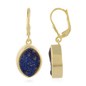 Cobalt Blue Glitter Agate Silver Earrings