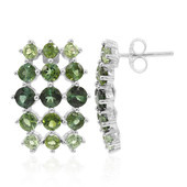 Green Tourmaline Silver Earrings