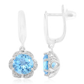 9K Swiss Blue Topaz Gold Earrings