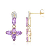 14K Unheated Ceylon Purple Sapphire Gold Earrings (Lance Fischer)