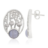 Blue Lace Agate Silver Earrings (MONOSONO COLLECTION)