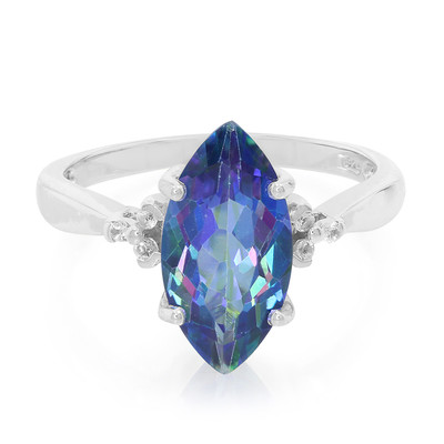 Mystic Blue Topaz Silver Ring