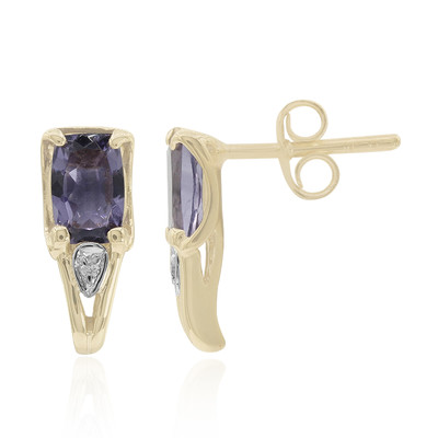 9K Blueberry Quartz Gold Earrings