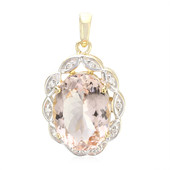 18K AAA Peach Morganite Gold Pendant
