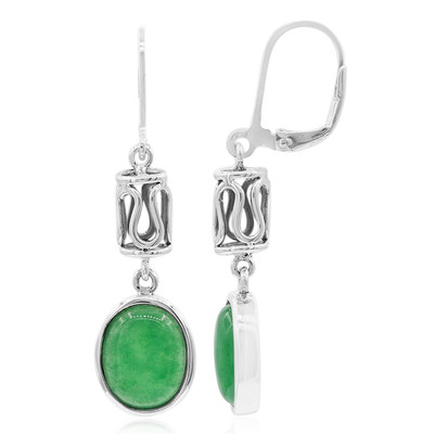 Green Agate Silver Earrings (Nan Collection)
