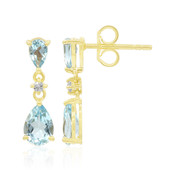 9K Sky Blue Topaz Gold Earrings