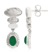 Green Chalcedony Silver Earrings (MONOSONO COLLECTION)