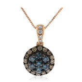 14K SI2 Blue Diamond Gold Necklace