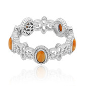 Orange Spiny Oyster Shell Silver Ring (Dallas Prince Designs)