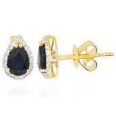 18K Blue Sapphire Gold Earrings