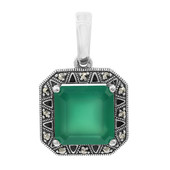 Green Chalcedony Silver Pendant