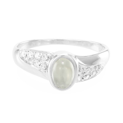 Green Moonstone Silver Ring