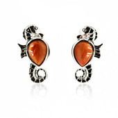 Orange Spiny Oyster Shell Silver Earrings