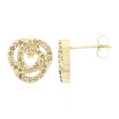 9K Champagne Diamond Gold Earrings