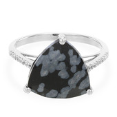 Snowflake Obsidian Silver Ring