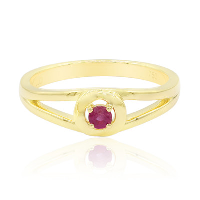 18K Red Beryl Gold Ring