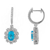 Swiss Blue Topaz Silver Earrings (Memories by Vincent)