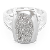 Platinum Glitter Quartz Silver Ring