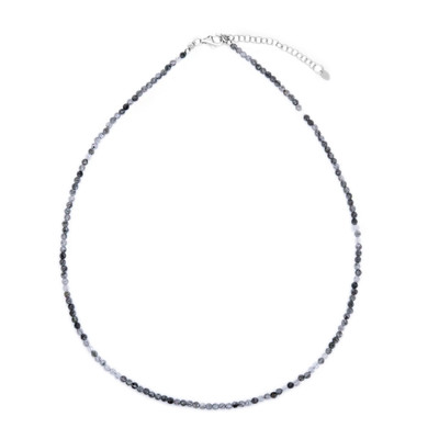 Black Rutile Quartz Silver Necklace