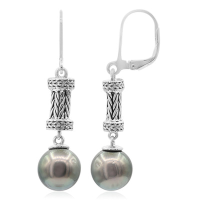 Tahitian Pearl Silver Earrings (Nan Collection)