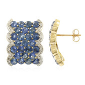 18K Laos Sapphire Gold Earrings