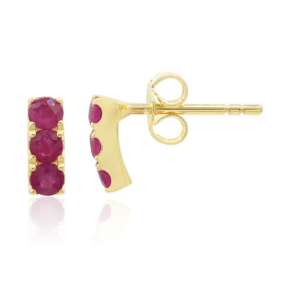 9K Madagascar Ruby Gold Earrings