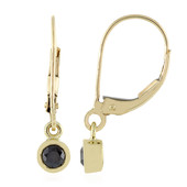9K Black Diamond Gold Earrings