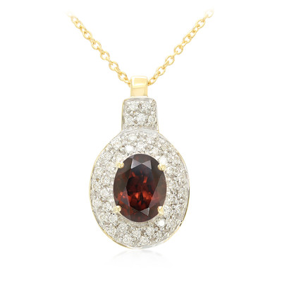 18K Red Zircon Gold Necklace