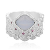 Blue Lace Agate Silver Ring (MONOSONO COLLECTION)