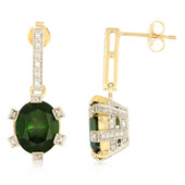 18K Russian Diopside Gold Earrings