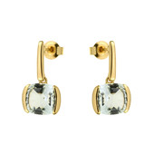 9K Green Amethyst Gold Earrings