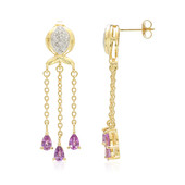 18K Unheated Ceylon Purple Sapphire Gold Earrings