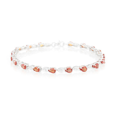 Sunset Ruby Silver Bracelet