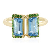 9K Swiss Blue Topaz Gold Ring (Adela Gold)