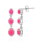 Pink Ethiopian Opal Silver Earrings