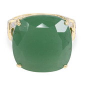 18K Green Chalcedony Gold Ring