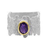 Zambian Amethyst Silver Ring (MONOSONO COLLECTION)