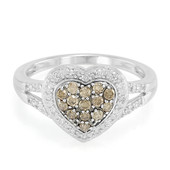 Champagne Diamond Silver Ring