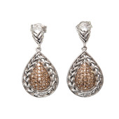 Champagne Diamond Silver Earrings