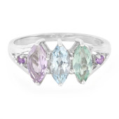 Mixed Gemstones Silver Ring