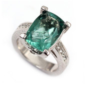 Caribbean Teal Fluorite Silver Ring (Dallas Prince Designs)