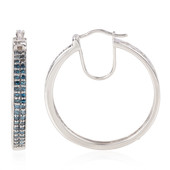Blue Diamond Silver Earrings